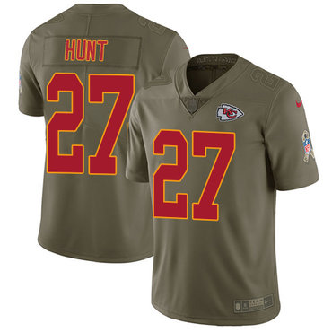 Nike Kansas City Chiefs #27 Kareem Hunt Olive Men's Stitched NFL Limited 2017 Salute to Service Jersey