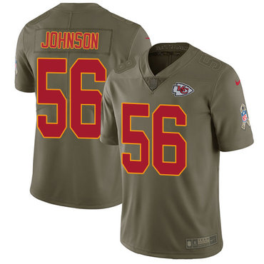 Nike Kansas City Chiefs #56 Derrick Johnson Olive Men's Stitched NFL Limited 2017 Salute to Service Jersey