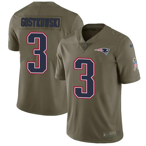 Nike New England Patriots #3 Stephen Gostkowski Olive Men's Stitched NFL Limited 2017 Salute To Service Jersey