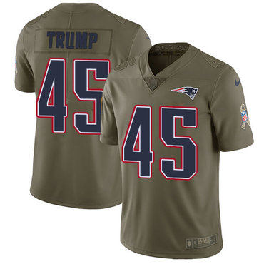 Nike New England Patriots #45 Donald Trump Olive Men's Stitched NFL Limited 2017 Salute To Service Jersey