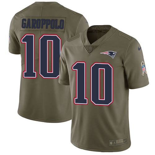 Nike New England Patriots #10 Jimmy Garoppolo Olive Men's Stitched NFL Limited 2017 Salute To Service Jersey
