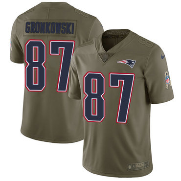 Nike New England Patriots #87 Rob Gronkowski Olive Men's Stitched NFL Limited 2017 Salute To Service Jersey