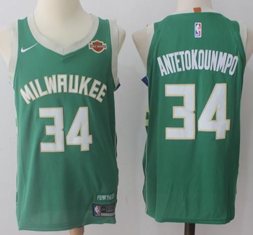 Nike Milwaukee Bucks #34 Giannis Antetokounmpo Green Stitched NBA Jersey