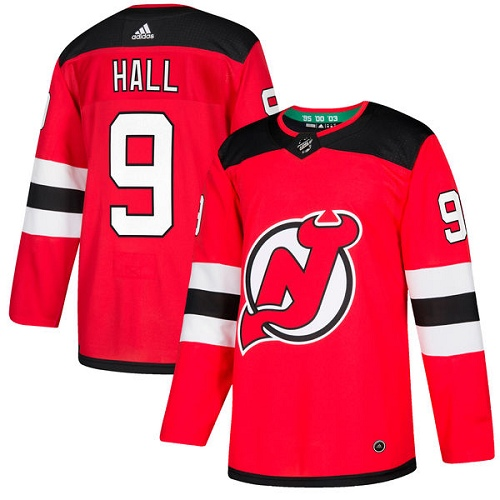 Adidas New Jersey Devils #9 Taylor Hall Red Home Authentic Stitched NHL Jersey