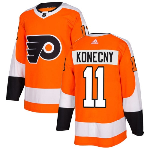 Adidas Philadelphia Flyers #11 Travis Konecny Orange Home Authentic Stitched NHL Jersey