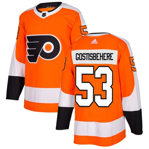 Adidas Philadelphia Flyers #53 Shayne Gostisbehere Orange Home Authentic Stitched NHL Jersey