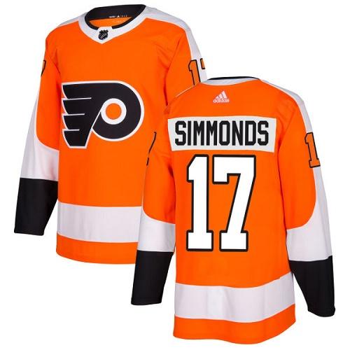 Adidas Philadelphia Flyers #17 Wayne Simmonds Orange Home Authentic Stitched NHL Jersey