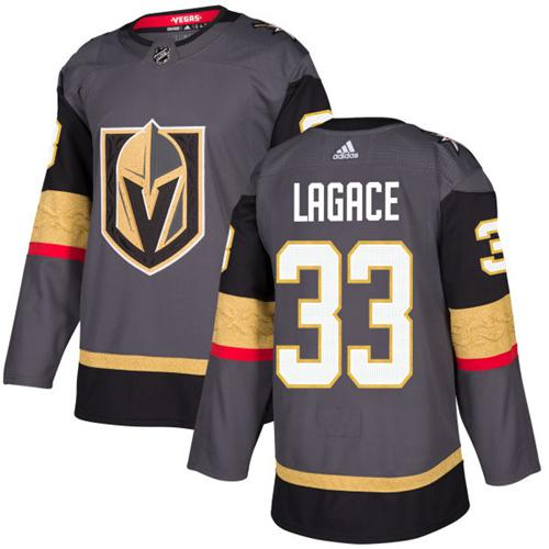 Adidas Vegas Golden Knights #33 Maxime Lagace Grey Home Authentic Stitched NHL Jersey
