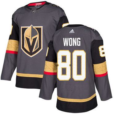 Adidas Vegas Golden Knights #80 Tyler Wong Grey Home Authentic Stitched NHL Jersey