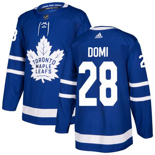 Adidas Toronto Maple Leafs #28 Tie Domi Blue Home Authentic Stitched NHL Jersey