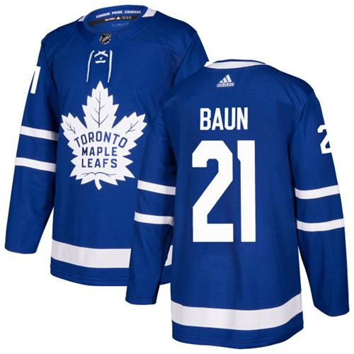Adidas Toronto Maple Leafs #21 Bobby Baun Blue Home Authentic Stitched NHL Jersey