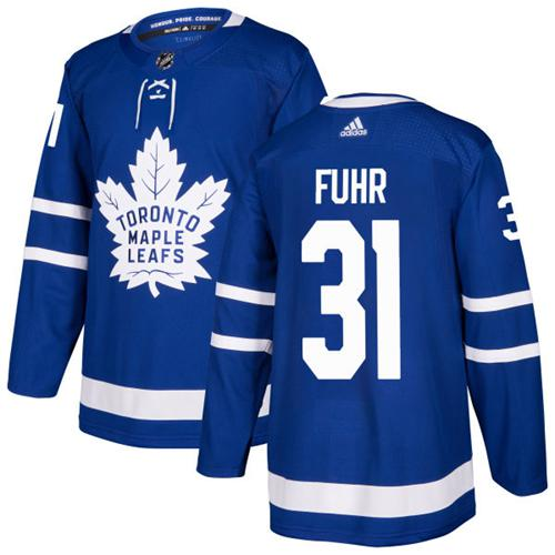 Adidas Toronto Maple Leafs #31 Grant Fuhr Blue Home Authentic Stitched NHL Jersey