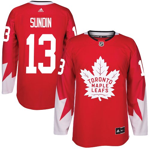 Adidas Toronto Maple Leafs #13 Mats Sundin Red Team Canada Authentic Stitched NHL Jersey