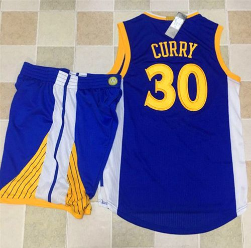 Warriors #30 Stephen Curry Blue A Set Stitched NBA Jersey