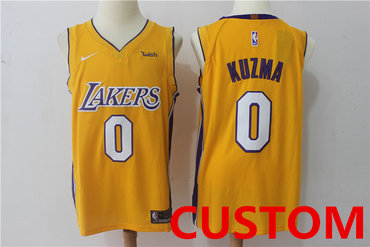 Custom Men's Los Angeles Lakers New Yellow 2017-2018 Nike Swingman Wish Stitched NBA Jersey