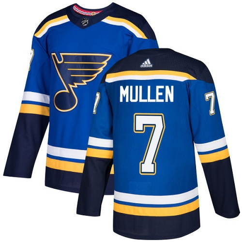 Men's Adidas St. Louis Blues #7 Joe Mullen Blue Home Authentic Stitched NHL Jersey