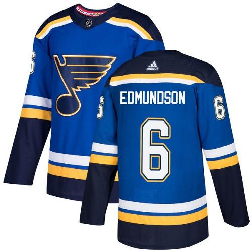 Men's Adidas St. Louis Blues #6 Joel Edmundson Blue Home Authentic Stitched NHL Jersey