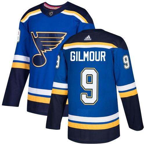 Men's Adidas St. Louis Blues #9 Doug Gilmour Blue Home Authentic Stitched NHL Jersey