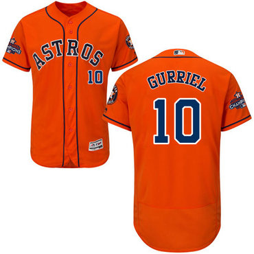 Men's Houston Astros #10 Yuli Gurriel Orange Flexbase Authentic Collection 2017 World Series Champions Stitched MLB Jersey