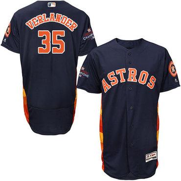 Men's Houston Astros #35 Justin Verlander Navy Blue Flexbase Authentic Collection 2017 World Series Champions Stitched MLB Jersey