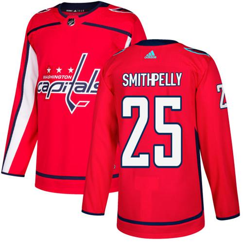 Adidas Capitals #25 Devante Smith-Pelly Red Home Authentic Stitched NHL Jersey
