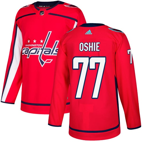 Adidas Capitals #77 T.J Oshie Red Home Authentic Stitched NHL Jersey