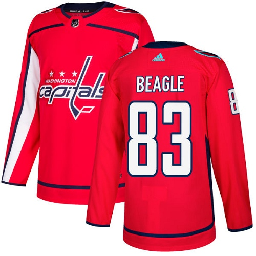 Adidas Capitals #83 Jay Beagle Red Home Authentic Stitched NHL Jersey