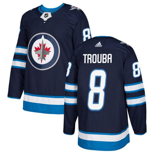 Adidas Jets #8 Jacob Trouba Navy Blue Home Authentic Stitched NHL Jersey