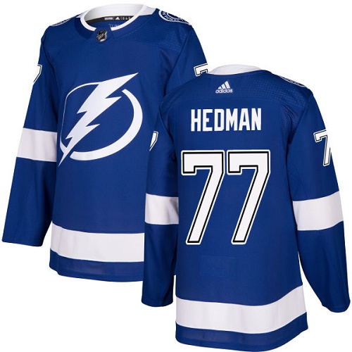 Adidas Lightning #77 Victor Hedman Blue Home Authentic Stitched NHL Jersey