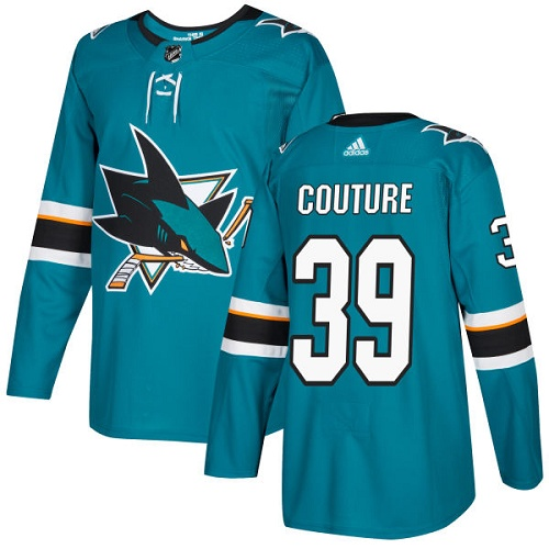 Adidas Sharks #39 Logan Couture Teal Home Authentic Stitched NHL Jersey