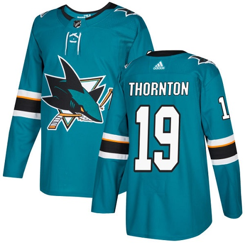 Adidas Sharks #19 Joe Thornton Teal Home Authentic Stitched NHL Jersey