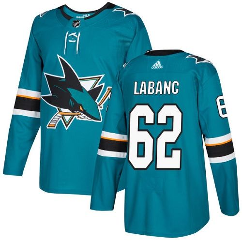 Adidas Sharks #62 Kevin Labanc Teal Home Authentic Stitched NHL Jersey