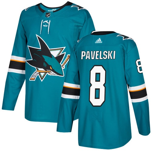 Adidas Sharks #8 Joe Pavelski Teal Home Authentic Stitched NHL Jersey