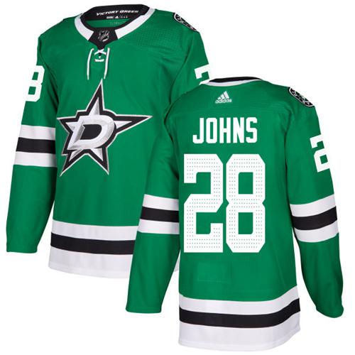 Adidas Stars #28 Stephen Johns Green Home Authentic Stitched NHL Jersey