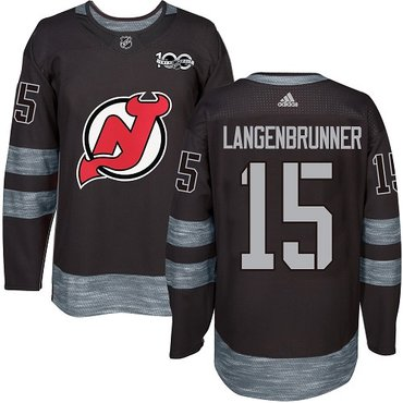 Adidas Devils #15 Langenbrunner Black 1917-2017 100th Anniversary Stitched NHL Jersey