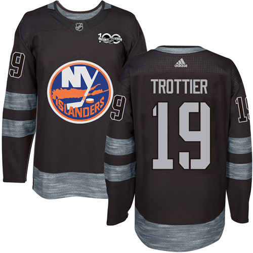 Adidas Islanders #19 Bryan Trottier Black 1917-2017 100th Anniversary Stitched NHL Jersey