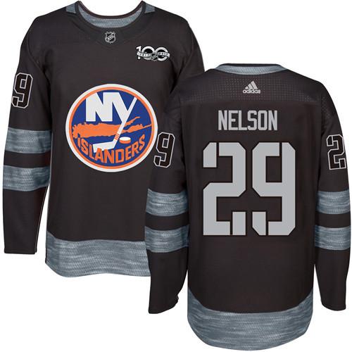 Adidas Islanders #29 Brock Nelson Black 1917-2017 100th Anniversary Stitched NHL Jersey