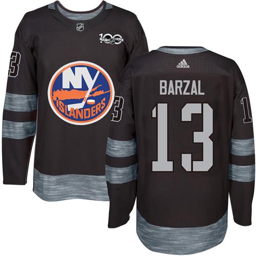 Adidas Islanders #13 Mathew Barzal Black 1917-2017 100th Anniversary Stitched NHL Jersey