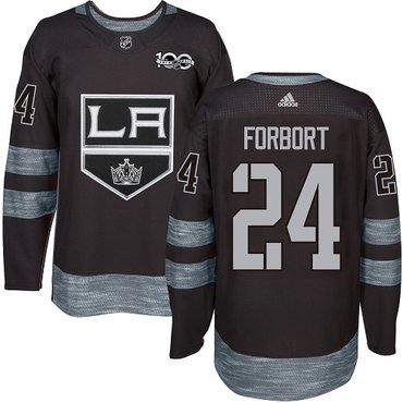 Adidas Kings #24 Derek Forbort Black 1917-2017 100th Anniversary Stitched NHL Jersey