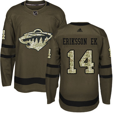 Adidas Wild #14 Joel Eriksson Ek Green Salute to Service Stitched NHL Jersey