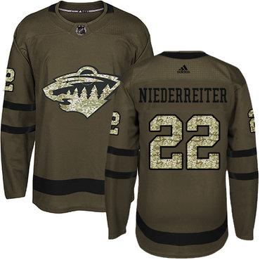 Adidas Wild #22 Nino Niederreiter Green Salute to Service Stitched NHL Jersey