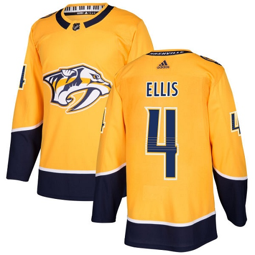 Adidas Predators #4 Ryan Ellis Yellow Home Authentic Stitched NHL Jersey