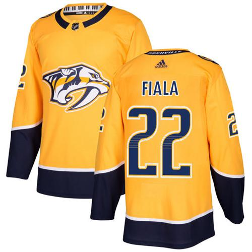 Adidas Predators #22 Kevin Fiala Yellow Home Authentic Stitched NHL Jersey
