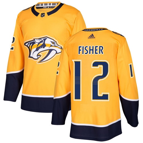Adidas Predators #12 Mike Fisher Yellow Home Authentic Stitched NHL Jersey