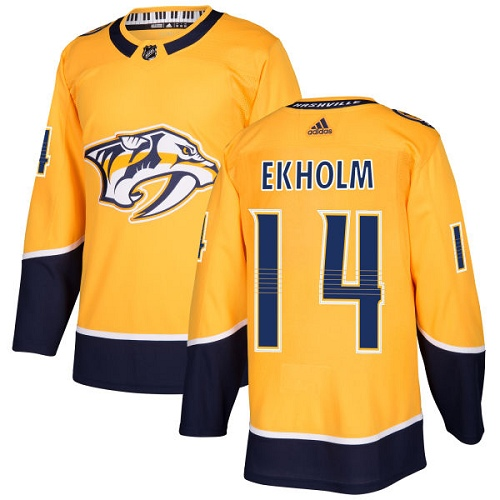 Adidas Predators #14 Mattias Ekholm Yellow Home Authentic Stitched NHL Jersey