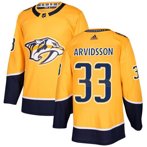 Adidas Predators #33 Viktor Arvidsson Yellow Home Authentic Stitched NHL Jersey