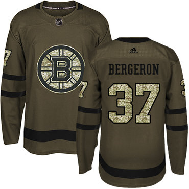 Adidas Bruins #37 Patrice Bergeron Green Salute to Service Stitched NHL Jersey