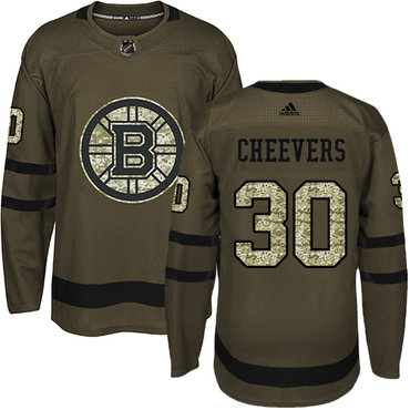 Adidas Bruins #30 Gerry Cheevers Green Salute to Service Stitched NHL Jersey