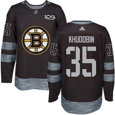 Adidas Bruins #35 Anton Khudobin Black 1917-2017 100th Anniversary Stitched NHL Jersey