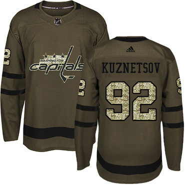 Adidas Capitals #92 Evgeny Kuznetsov Green Salute to Service Stitched Youth NHL Jersey